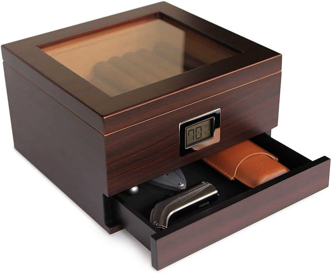 Glass Top Humidor with Digital Hygrometer