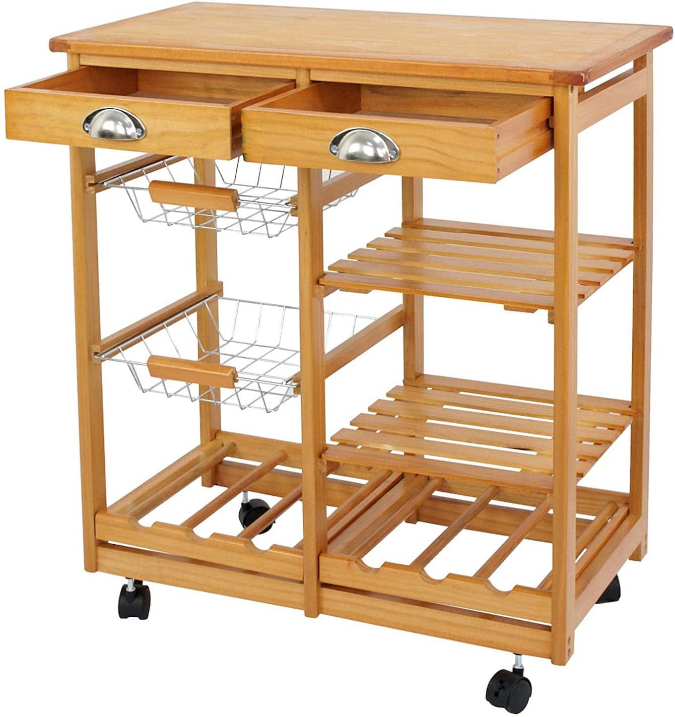 Nova Rolling Wood Kitchen Island Cart