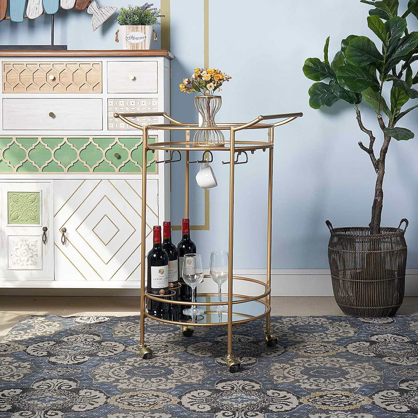 RiteSune Gold Bar Cart With Mirrored Shelves