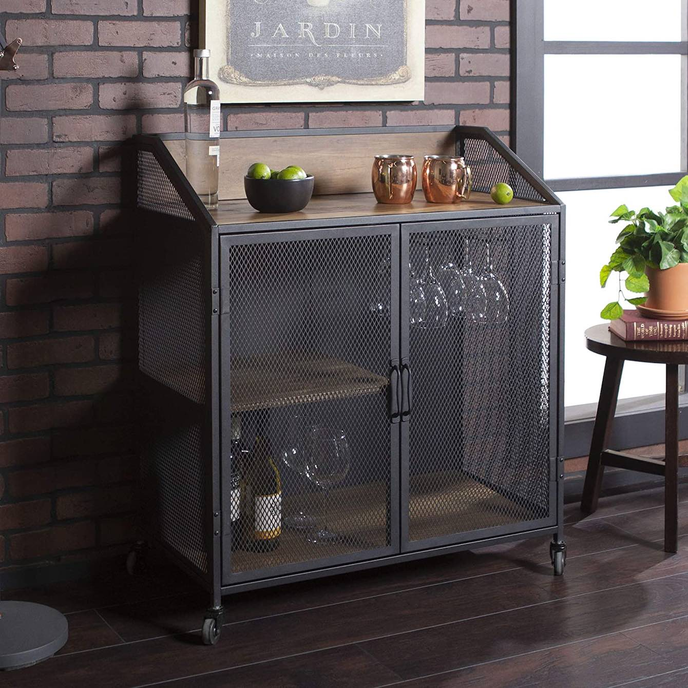 Walker Edison Industrial Wood and Metal Bar Cabinet