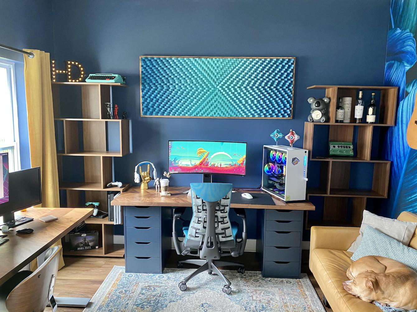 Blue-Hued Sofa and Office