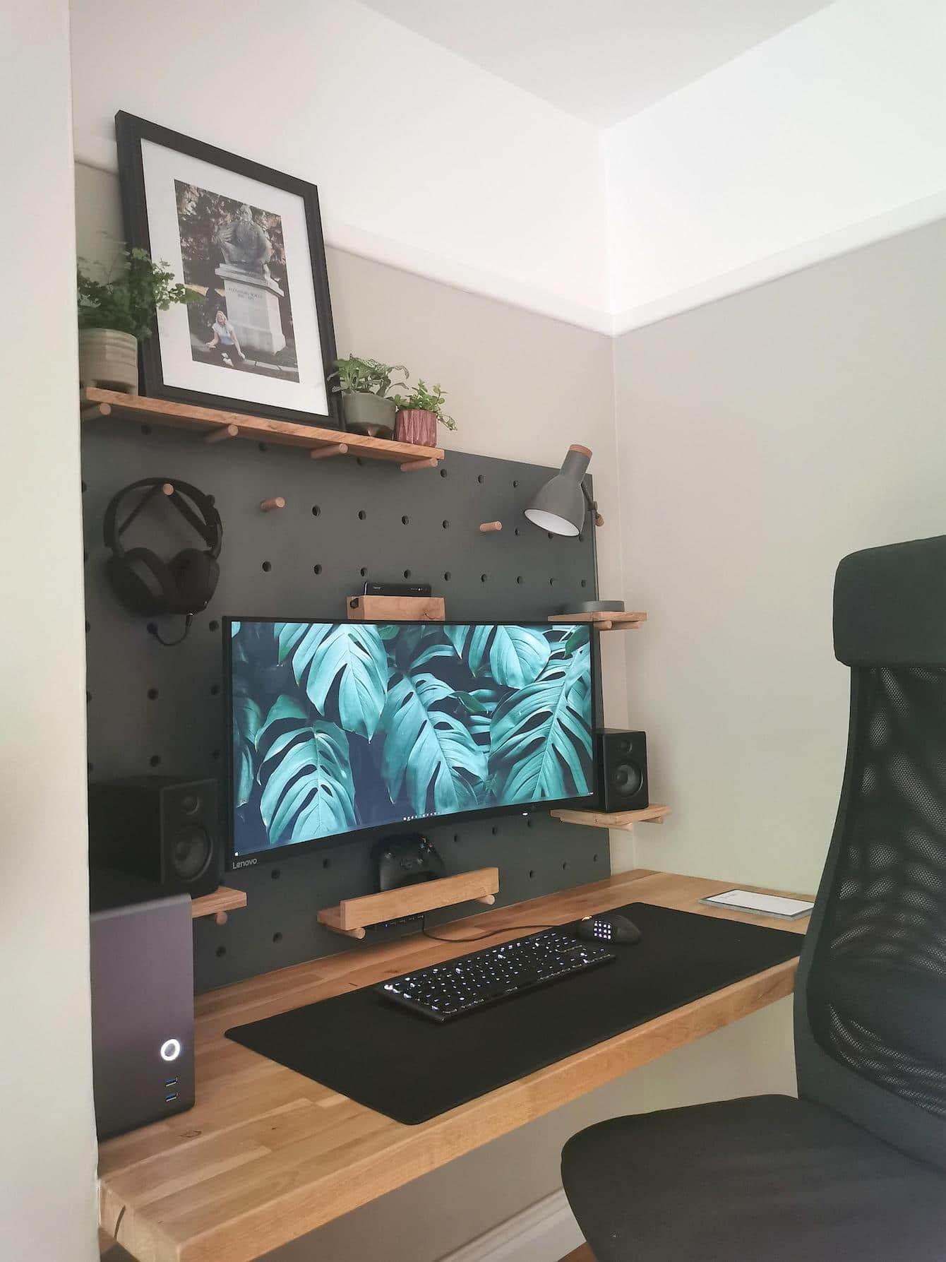 Custom Pegboard Desk and Storage
