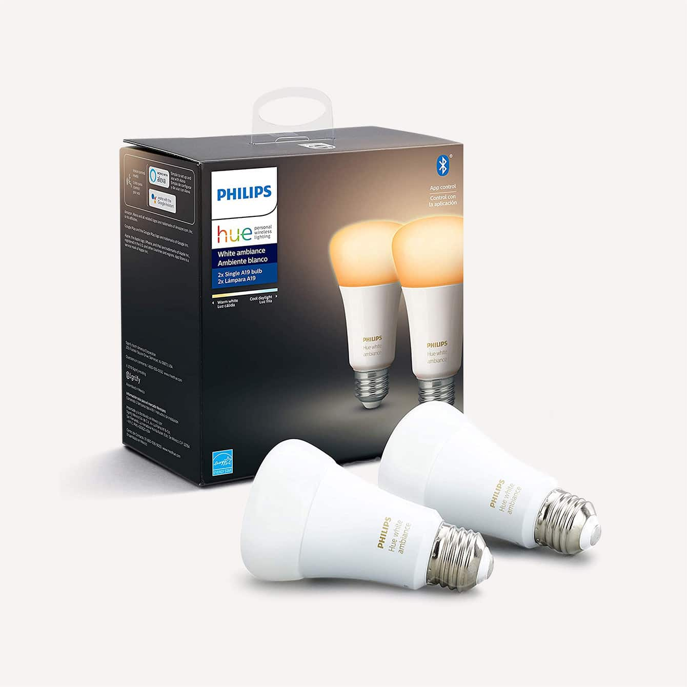 Two Pack Phillips Hue White A19 LED Smart Bulb