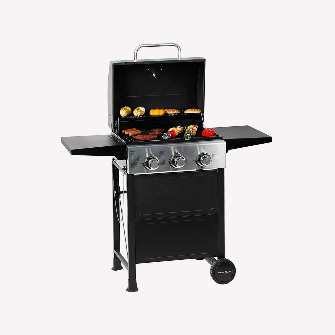 MASTER COOK 3 Burner BBQ Propane Gas Grill, Stainless Steel 30,000 BTU Patio Garden Barbecue Grill with Two Foldable Shelves 2